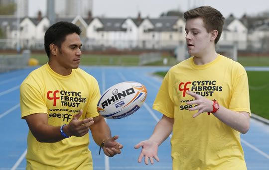 Glasgow's David Lemi and CF sufferer Iain McComish