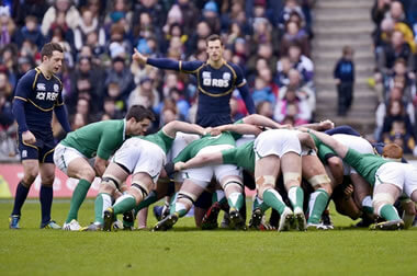 Scotland scrum down against Ireland - © Alastair Ross