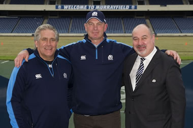 Scott Johnson, Vern Cotter, Mark Dodson - pic © Scottish Rugby/SNS