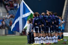 Scotland line up for the anthems - pic © Al Ross