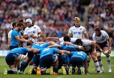 Scotland scrum down - pic © Al Ross