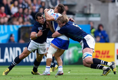 John Hardie and Jonny Gray make the tackle - pic © Al Ross