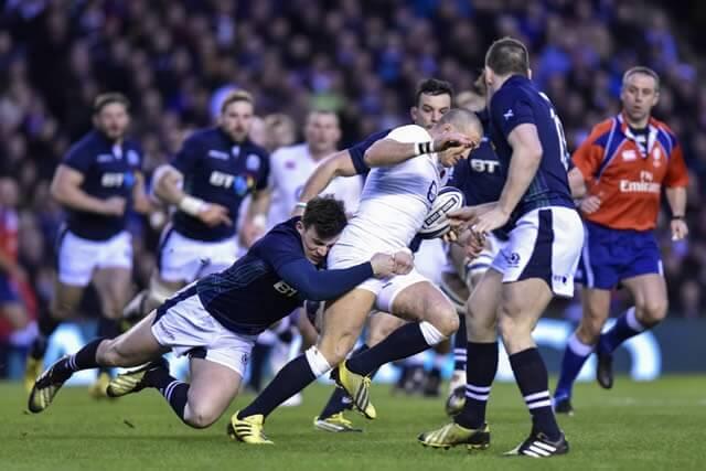 Matt Scott tackles Mike Brown of England - pic © Al Ross/Novantae Photography