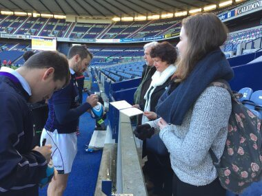 Our winners meet the players - pic © Ruaridh Campbell