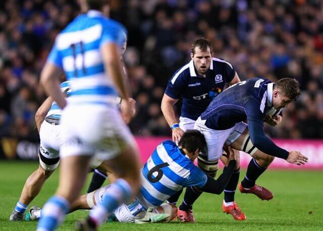 Magnus Bradbury in action during Scotland vs Argentina