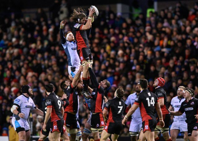 Ben Toolis wins a lineout for Edinburgh Rugby in the 1872 Cup - pic © Alastair Ross | Novantae Photography
