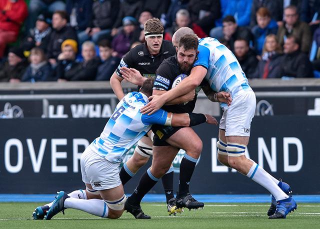Jamie Bhatti carries against Leinster