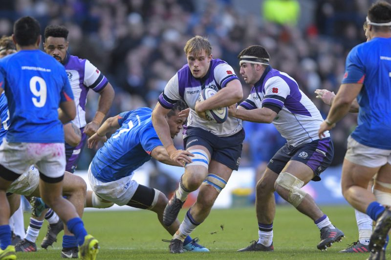 Jonny Gray on the charge - by Al Ross
