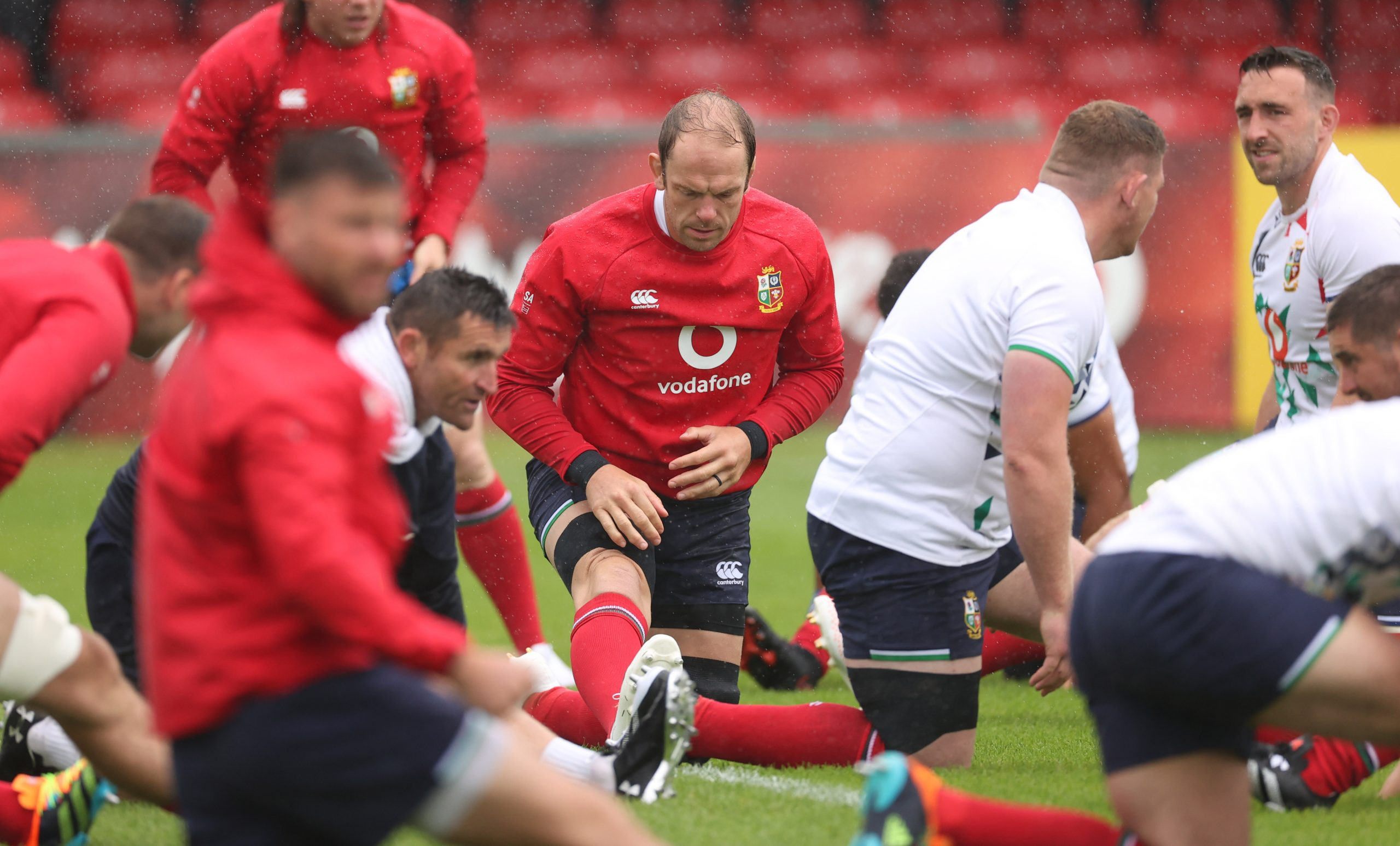 British & Irish Lions' players warming up before a training session