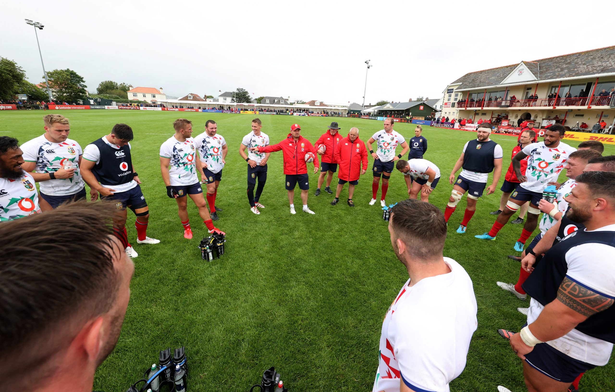 Lions players in a circle after a training session
