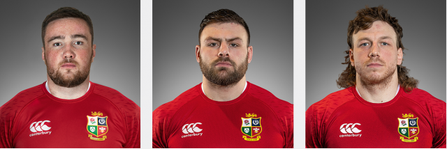 Headshots of the 3 Scottish forwards in the Lions' tour party